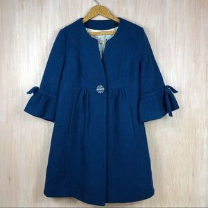 Anthropologie Tabitha Blue Wool Blend Coat Jacket